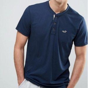 Hollister Men's Button Henley Blue SS Shirt L